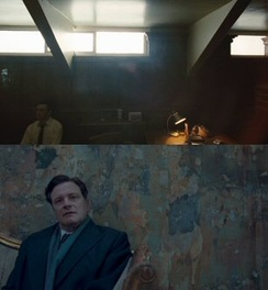 Hooper adopted a style of framing actors at the extreme edge of a scene in both The Damned United (top) and The King's Speech (bottom)