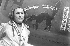F/O Geoff Fisken in front of his P-40, Wairarapa Wildcat (NZ3072/19).