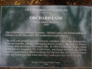 Historical Plaque at the Entrance to Orchard Lane, The Pedestrian Entrance to The Panoramic Hill Neighborhood