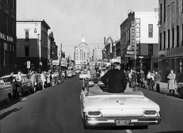 John F. Kennedy campaigns through State Street in downtown Rockford in 1960.