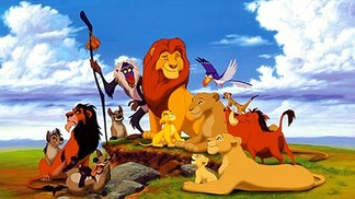 A promotional image of the characters from the film. From left to right: Shenzi, Scar, Ed, Banzai, Rafiki, Young Simba, Mufasa, Young Nala, Sarabi, Zazu, Sarafina, Timon, and Pumbaa