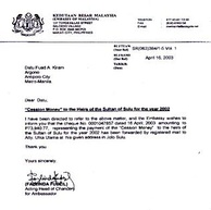 "Annual ""Cession Money"" payment by Malaysian Embassy to the heirs of the Sultanate of Sulu."