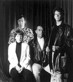 The Velvet Underground reformed in 1993. From left to right: Morrison (at back), Tucker, Cale and Reed