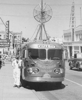 A DuMont Telecruiser, circa 1953. This mobile TV unit, Model B, Serial Number 101, was built by DuMont Labs for KBTV in Dallas. It was in use until the early 1970s.