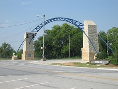 The new archway over Oglethorpe Boulevard at Front Street welcomes visitors to downtown Albany.