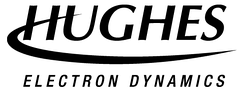 Hughes logo, adopted during the period (1997-2000) between the sales of portions of the company to Raytheon and Boeing. Each subsidiary of Hughes Space and Communications Company placed their name at the bottom of the logo.