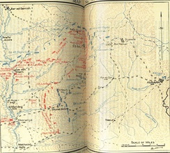 Gullett's Map 35 shows positions on 2 May 1918 during the Second Transjordan attack, also shows the Naaur and Ain es Sir tracks to Amman