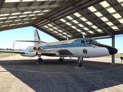 Lockheed JetStar used by President Johnson on display at the Lyndon B. Johnson National Historical Park