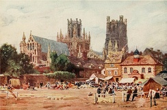 The Market Place, Ely, Cambridgeshire by W. W. Collins, 1908