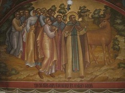 Miracle of the Moose (modern fresco in  Pechersky Ascension Monastery).