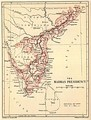 Madras Presidency shown in an 1880 map.