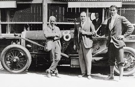 Left to right: Frank Clement, W.O. Bentley, and John Duff in front of their Bentley which won the 1924 24 Hours of Le Mans.