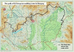 The path of European walking route E4 in Hungary