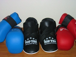Common styles of ITF point sparring equipment