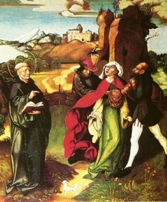 Bernard exorcising a possession, altarpiece by Jörg Breu the Elder, c. 1500