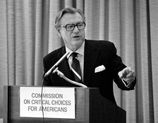 Rockefeller addresses a February 1975 meeting of the Commission on Critical Choices for Americans