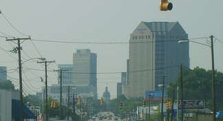 Columbia skyline coming from North Main St.