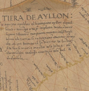 Del Junco's father-in-law, Lucas Vázquez de Ayllón, is known as the first founder of a European settlement on the American east coast.Map by Diego Ribero, 1539