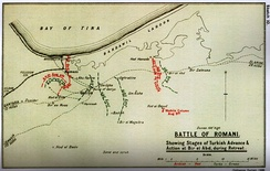 Falls' Sketch Map 10 Stages of Battle of Romani to Bir el Abd