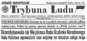 Trybuna Ludu 14 December 1981 reports martial law in Poland