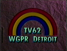 "WGPR station ID, 1980s. Variations of this ""rainbow"" logo would be used until CBS purchased it in 1995."