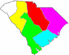 South Carolina Congressional Districts, 1789–1793   1st District, Charleston   2nd District, Beaufort-Orangeburg   3rd District, Georgetown-Cheraw   4th District, Camden   5th District, Ninety-Six