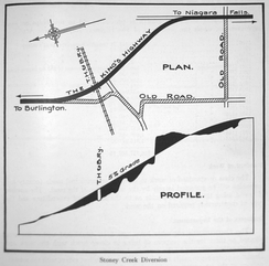 Soon after designating Highway 20, the Department of Highways constructed the Stoney Creek Cut, providing a low-grade ascent of the Niagara Escarpment.