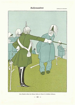 "Caricature by Olaf Gulbransson 1909: ""Manoeuvre: Emperor William II explains the enemy's positions to Prince Ludwig of Bavaria"""