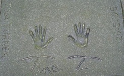 Turner's handprints at the Rotterdam Walk of Fame on May 26, 1996
