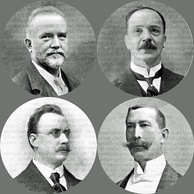Clockwise from top left: Adolf Borsdorf, Thomas Busby, John Solomon and Henri van der Meerschen, founding fathers of the LSO