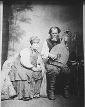Ostap Veresai, the most famous Ukrainian kobzar of the 19th century, and his wife Kulyna