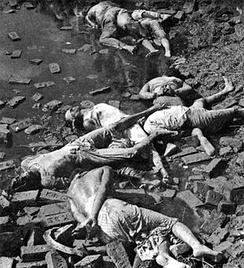 Rayerbazar killing field photographed immediately after the war, showing dead bodies of intellectuals (image courtesy: Rashid Talukder, 1971)
