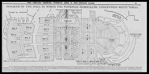 Diagram of Convention Hall, Chicago, site of the 1884 Democratic National Convention.