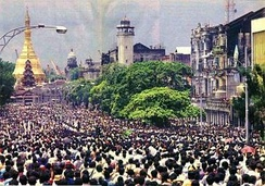 Protesters gathering in central Rangoon, 1988.
