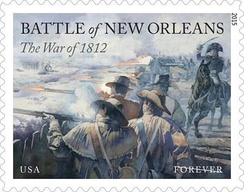 US troops along Jackson's Line fire on British soldiers on a stamp issued January 8, 2015. This was the final US stamp in a War of 1812 series of four marking its bicentennial.