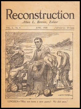 Cover of the June 1920 issue of Benson's magazine, Reconstruction.