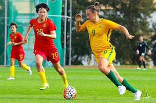 Wing-back Caitlin Foord in action with Australia at the 2017 Algarve Cup