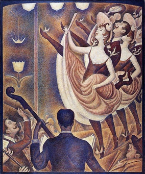 Georges Seurat's very individual technique and style, Le Chahut, 1889–90