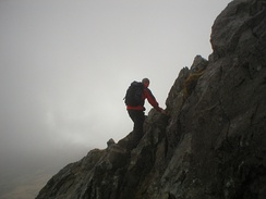Scrambling on Crib Goch, Snowdonia, Wales