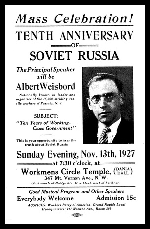 Leaflet for a speech by Weisbord given in connection with the 10th Anniversary of the Russian Revolution.