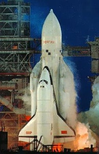 Buran during launch of flight 1K1 on 15 November 1988