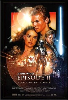 Film poster. A young man is seen embracing a young woman. A man holds a lightsaber. A battle scene is in the middle, and in the lower foreground, there is a man wearing a suit of armor.