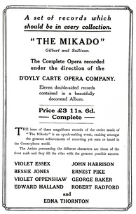 Advertisement for the first recording of The Mikado, 1917