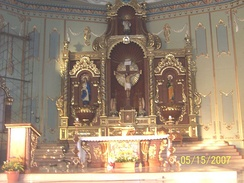 The Altar of St. Francis Xavier Parish in Nasugbu, Batangas, Philippines. Saint Francis is the principal patron of the town, together with Our Lady of Escalera.