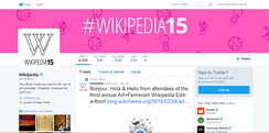The Twitter account page for Wikipedia, demonstrating the account-customized timeline view which shows tweets in reverse chronological order