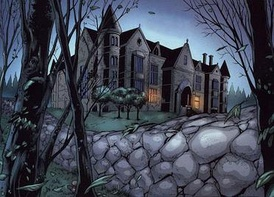 Wayne Manor in Batman and the Outsiders vol. 2, #13 (Jan. 2009). Art by Fernando Dagnino.