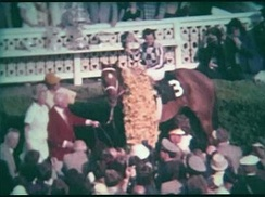 Secretariat in the winner's circle after the Preakness, with Ron Turcotte, Lucien Lauren, Eddie Sweat and Penny Chenery (then Tweedy)