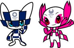 The official mascots of the 2020 Summer Olympics (left) and the 2020 Summer Paralympics (right). As of June 2018, they have yet to be named.