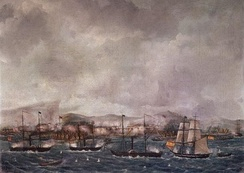 Spanish warships bombarding the Moro Pirates of the southern Philippines in 1848
