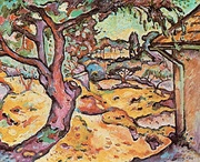 Georges Braque, 1906, L'Olivier près de l'Estaque (The Olive tree near l'Estaque). At least four versions of this scene were painted by Braque, one of which was stolen from the Musée d'Art Moderne de la Ville de Paris during the month of May 2010.[24]